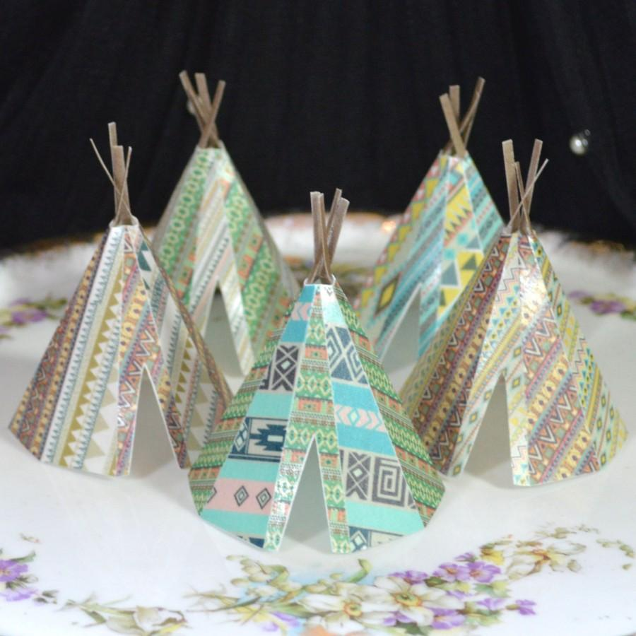 زفاف - Edible Teepee's 3D x 5 Native Tribal Boho Tipi Wafer Paper Bohemian Wedding Cake Decorations Wild One Rustic Birthday Cupcake Cookie Toppers