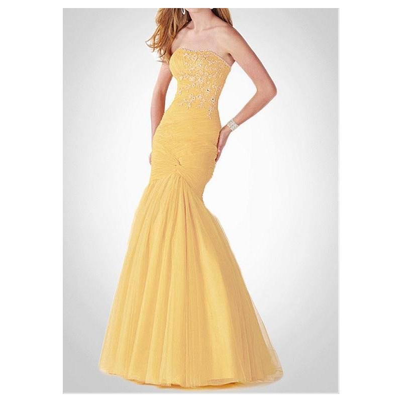 Wedding - Daintily Tulle & Taffeta Mermaid Strapelss Beaded Fit-and-flare Prom Dress - overpinks.com
