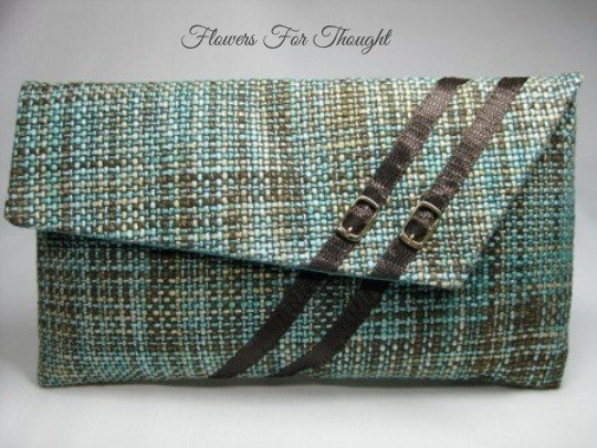 Wedding - Teal and Brown Envelope Clutch, Evening Handbag, OOAK Purse with Fashionable Buckle Design