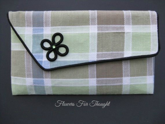 Свадьба - Plaid Clutch Pastel Colors Chic Envelope Style Clutch,Fashion Accessory, Great for Work, Evening, orBridesmaid or Mother of Bride/Groom Gift