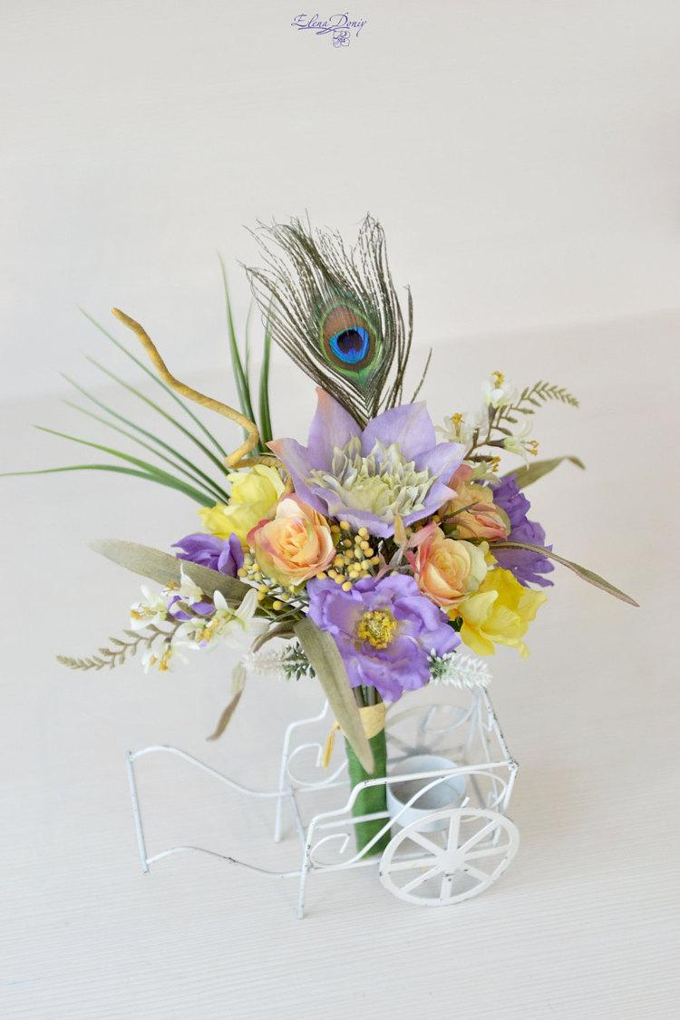 Spring wedding bouquet tropical bridal bouquet silk flowers exotic spring wedding bouquet tropical bridal bouquet silk flowers exotic purple yellow bouquet peacock feather beach wedding flowers mightylinksfo