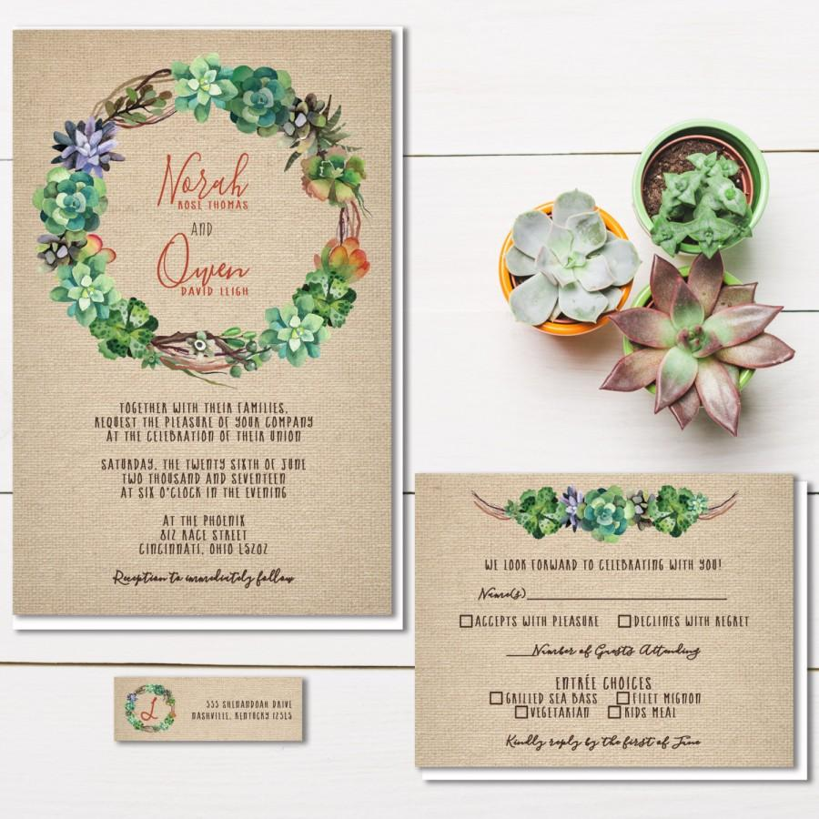 Wedding - Succulent Wedding Invitations, Rustic Burlap Wedding Invitation, Air Plant Invite Set, Southwestern Wedding, Budget Wedding Stationery
