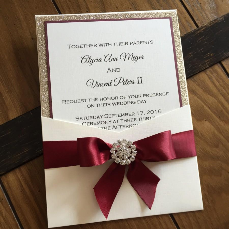 burgundy and gold leaf glitter pocket wedding invitation elegant