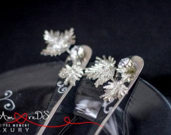Wedding - Beads wedding, forks, black and white wedding, flowers forks, embroidery, gift ideas, bride and groom, rhinestone & pearls, classic, 2 pcs