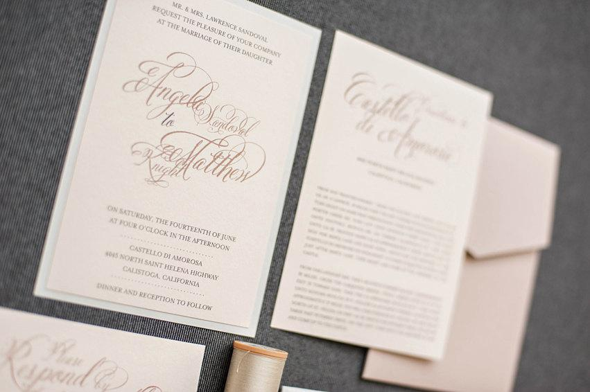 Wedding - Blush Pink Wedding Invitation, Champagne and Gray Vintage Wedding Invitation, Pocket Invitation, Romantic Wedding - Angela and Matthew