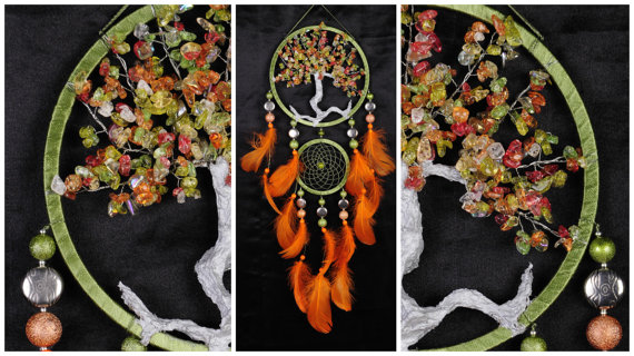 Wedding - Orange olive Dream Catcher Tree of life Dreamcatcher quartz Dream сatcher orange olive quartz wall handmade gift Valentine's Day orange gift