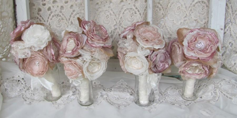Wedding - Bridasmaids Bouquet Package Vintage Bouquet Rustic,Bohoemiam Dusty Rose/Ivory Fabric flower bouquets fabric bouquets wedding flowers
