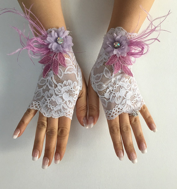 Wedding - Ivory french lace gloves bridal gloves ivory lace gloves fingerless gloves free ship, lilac flowers and feather design, lilac lace gloves,