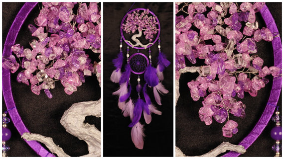 Wedding - Pink violet Dream Catcher Tree of life Dreamcatcher quartz Dreamсatcher pink violet quartz wall handmade gift Valentine Day pink gift violet