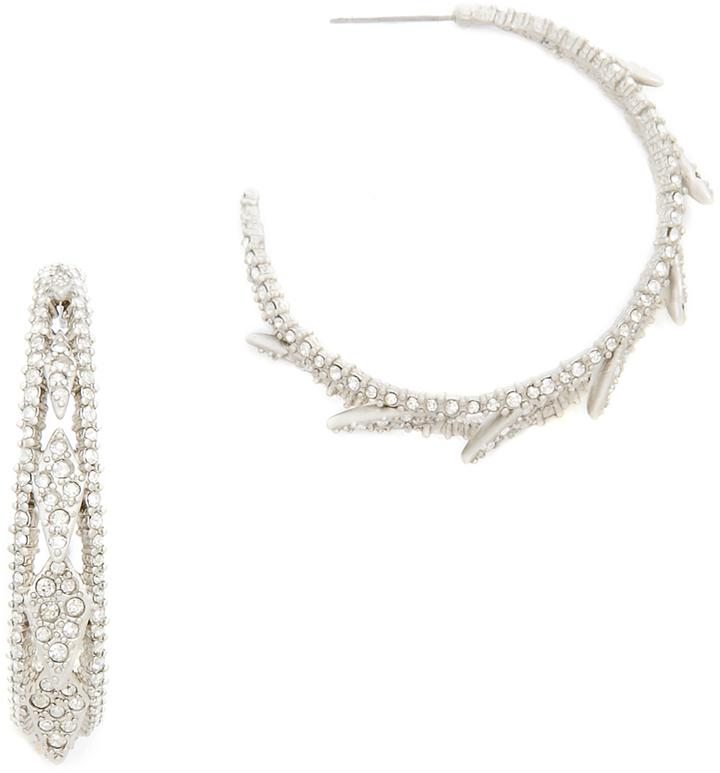 Wedding - Alexis Bittar Crystal Encrusted Spiked Lattice Hoop Earrings