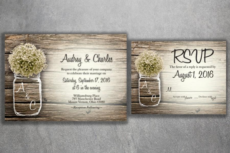 Wedding - MASON JAR Baby's Breath Flowers Rustic Wedding Invitation Set Printed, Cheap Wedding Invitations, Unique, Custom Invitations, Affordable