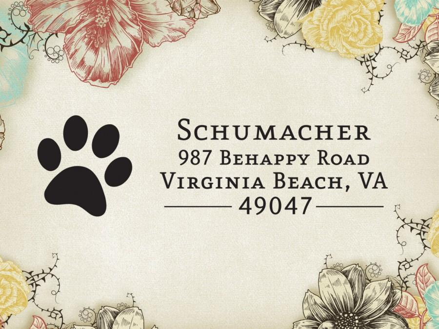 Wedding - Return Address Stamp, Paw Print, Pet Lover, Custom Address Label, Self-Inking, Customized Rubber Stamp, Personalized Cat, Dog Stamper 21