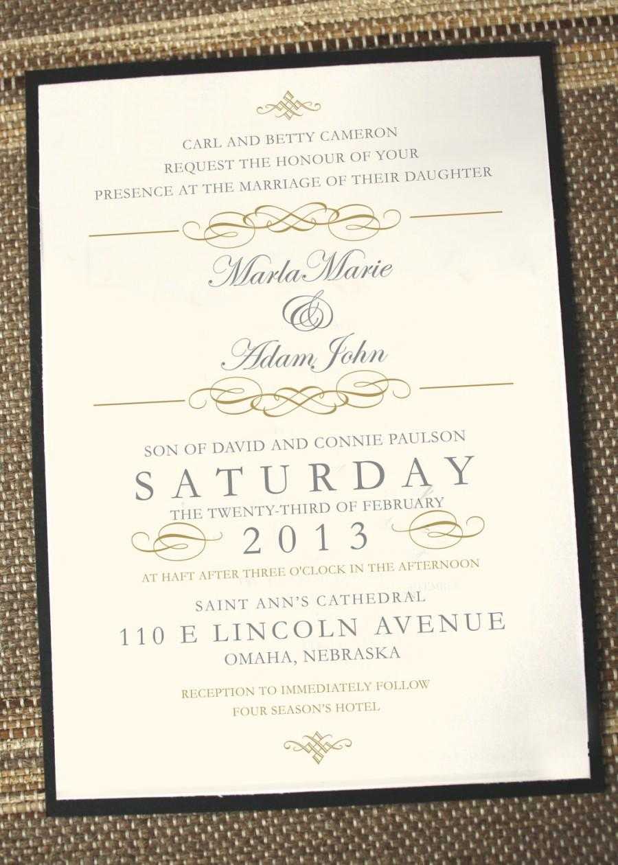 Wedding - Elegant wedding invitations, timeless wedding invitations, gold wedding invitation, vintage wedding invitations, printed wedding invitations