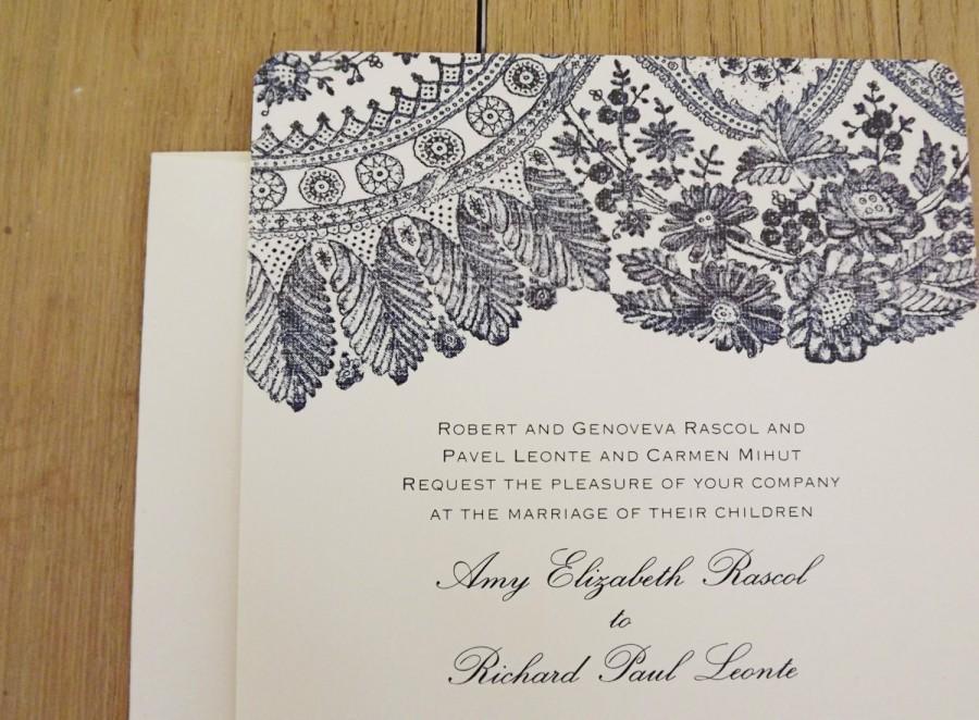 زفاف - Blush Lace Wedding Invitations - Shown in Navy - Save the Date, RSVP, Reception Cards - Vintage Invitation