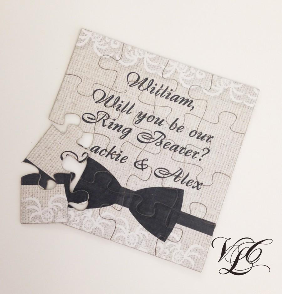 Wedding - Rustic Personalized Ring Bearer proposal, Ask Ring Bearer, Will You Be Our Ring Bearer puzzle, Ring Bearer Invitation puzzle, wedding card