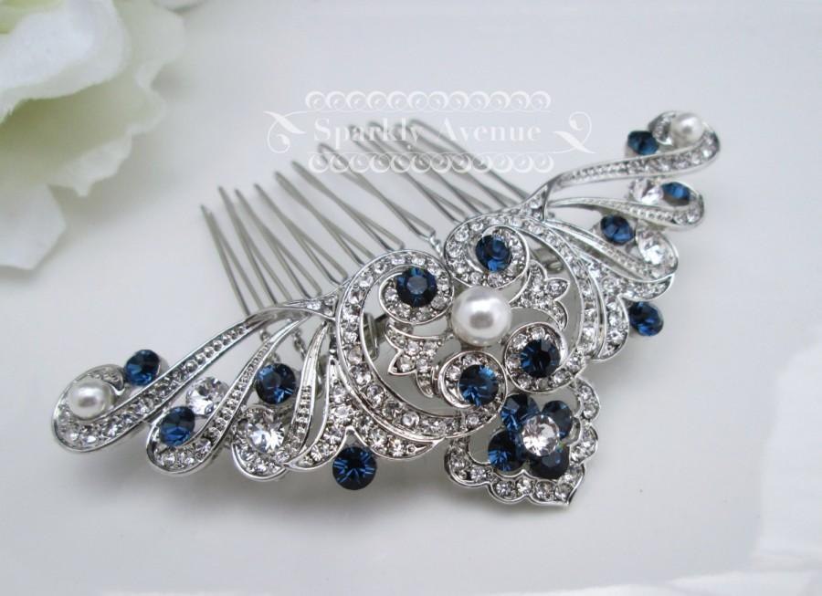 Wedding - Something Blue Hair comb Art Deco Comb White Pearl Wedding Hair Comb Vintage Inspired Hair Accessory Flower Hair Clip Bridal Hair Comb Anna