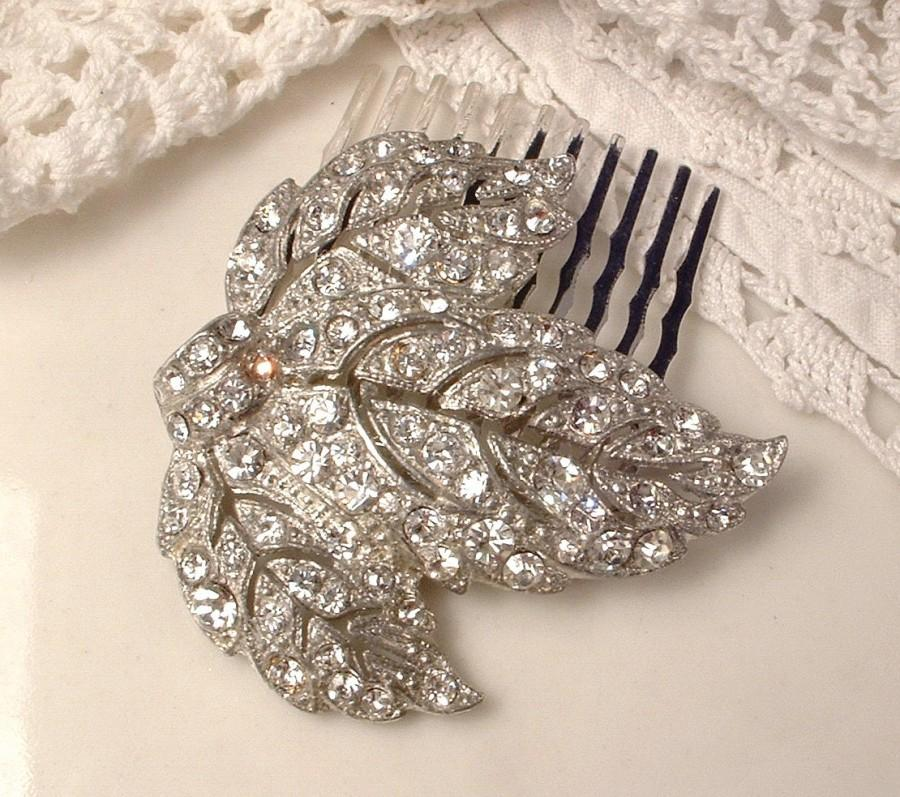 Mariage - Antique Art Deco/Nouveau Bridal Hair Comb, Vintage Wedding Dress Clip Rhinestone Silver Leaf Hairpiece, 1920s Hair Piece Rustic Chic Country