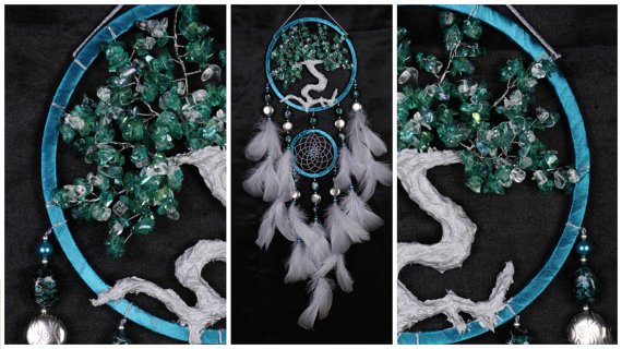 Wedding - Emerald gray Dream Catcher Tree of life Dreamcatcher green quartz emerald Dreamсatcher quartz wall handmade gift Valentine Day gray green