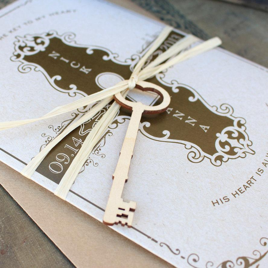 Wedding - Key to My Heart Wedding Invitation (Printed Pocket Fold) - Design Fee