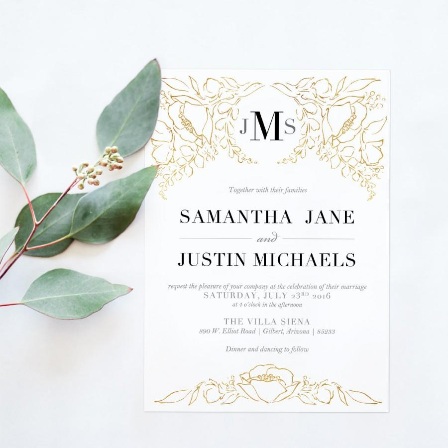 Wedding - Gold Floral Wedding Invitations - Black and Gold Wedding Invitation - Elegant Gold Invitation - Printable invitation - blushed designs