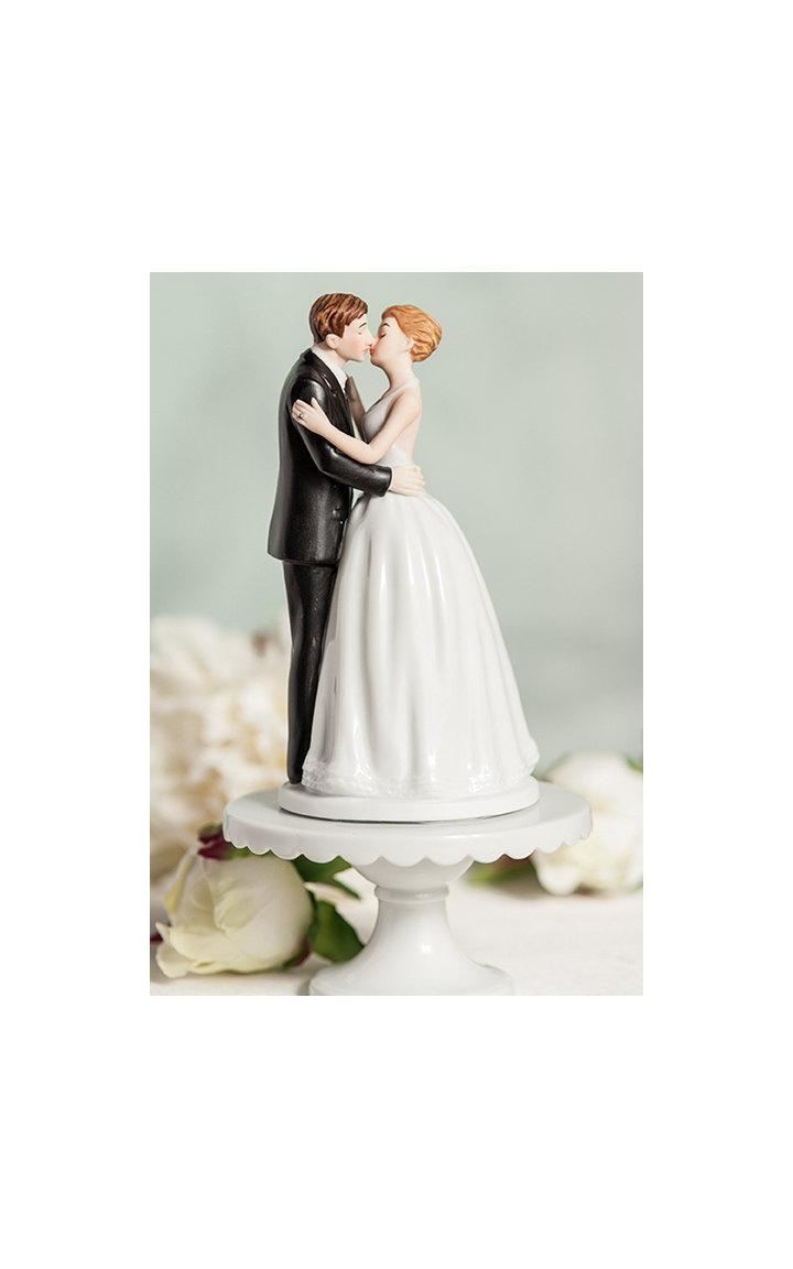 Wedding - Romance Kissing Couple Wedding Cake Topper - Custom Painted Hair Color Available - 103569