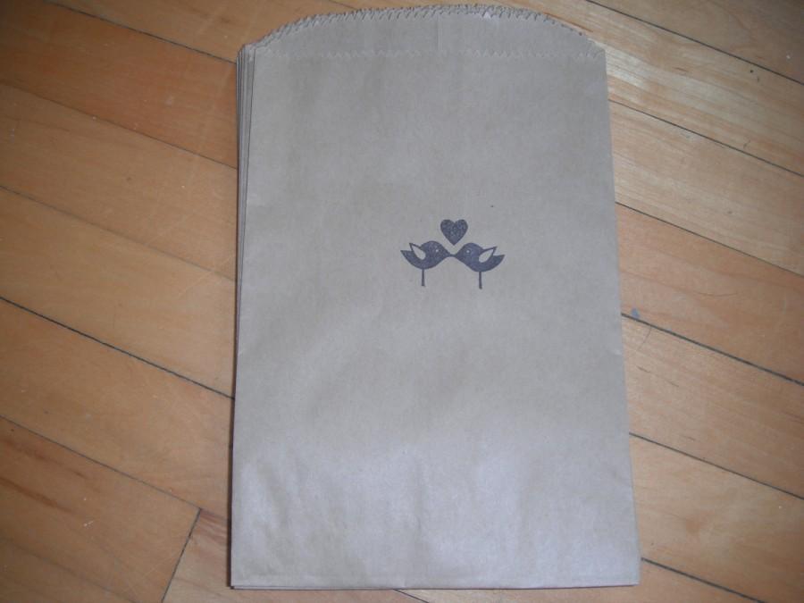 Mariage - 75 Kraft Love Bird stamped bags
