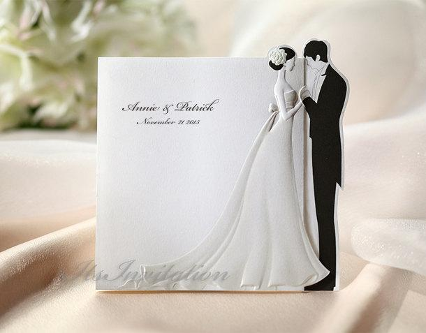 Wedding - Custom Wedding Invitations White Embossed Bride and Groom Cards - BH2069 - - - RSVP with Envelopes Seals - - - Free Shipping Promotion