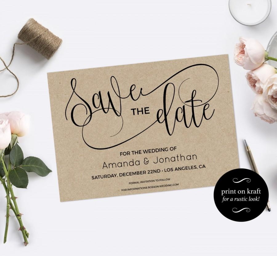 Wedding - Save the Date Template - Save the Date Printable - Kraft save the date - Rustic save the date - Downloadable wedding