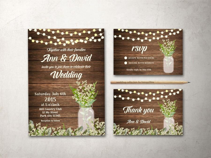 Wedding - Wedding Invitation Set, Printable Wedding Invitation Rustic, Mason Jar Wedding Invite, Babys Breath Wedding, Rustic Wedding Invitation