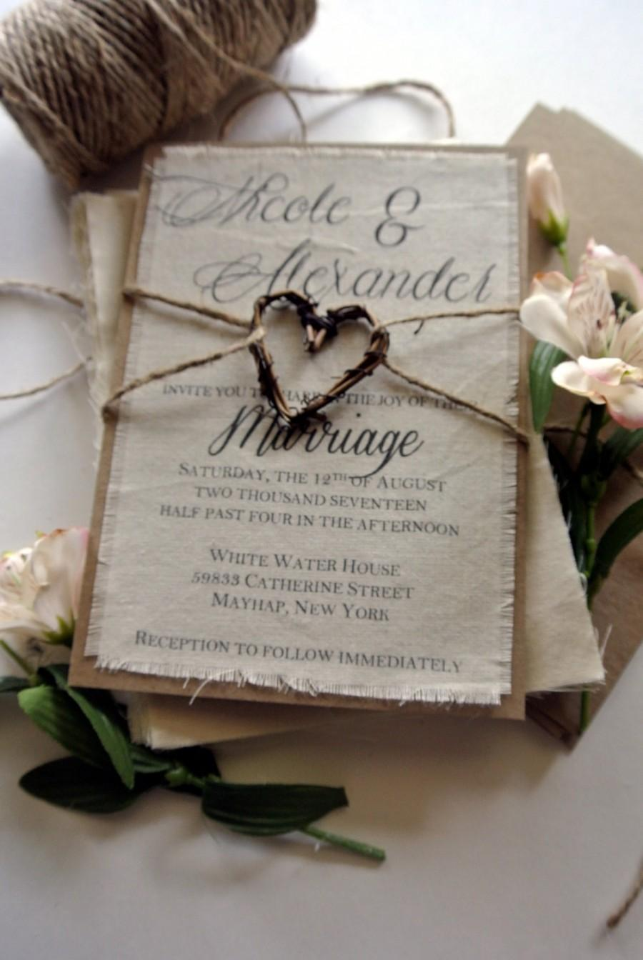 Wedding - Rustic Wedding Invitation Boho Script Twine Fabric Invitation Grapevine Heart Fall Wedding Ideas