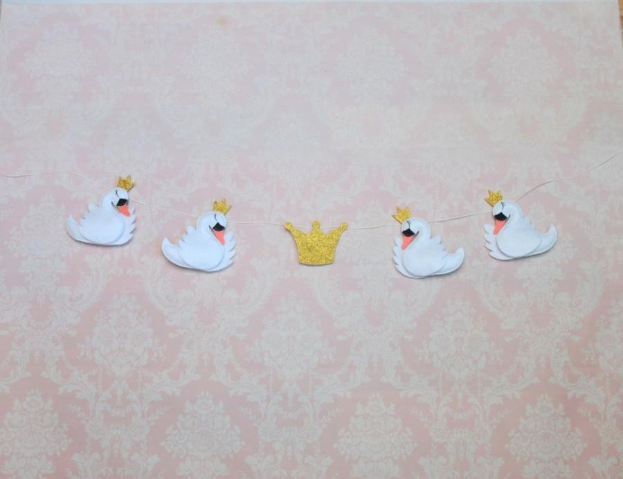 Wedding - Felt swan garland - baby nursery decor - felt swan garland