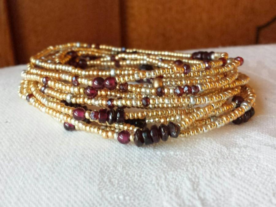 Wedding - Garnet and Gold Long Seed Bead Wrap Bracelet - January Birthstone