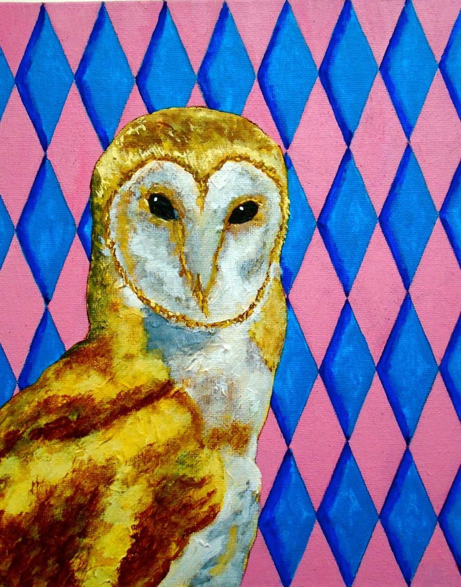 "Wedding - Blue and Pink Diamond Owl (ORIGINAL ACRYLIC PAINTING) 8"" x 10"" by Mike Kraus"