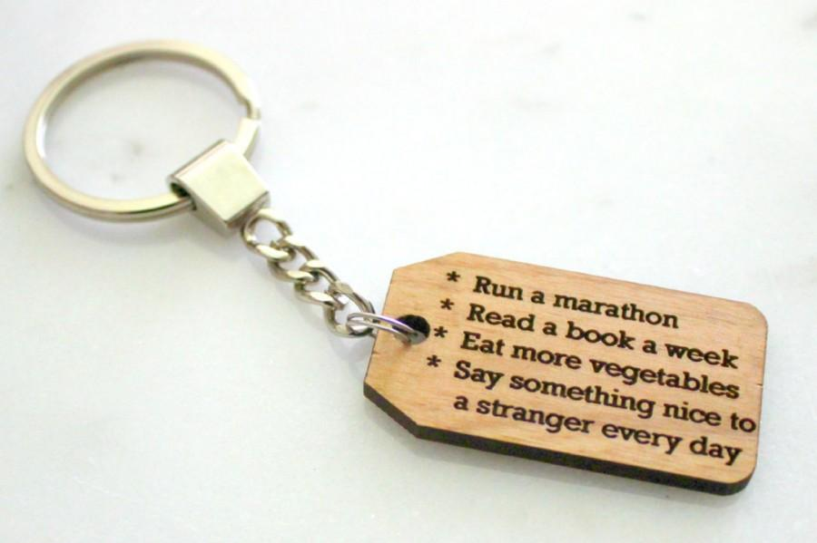 Wedding - Your Goals Keychain, Alder Wood, to do keychain, goal reminder, new years resolution, motivational present, inspirational accesories