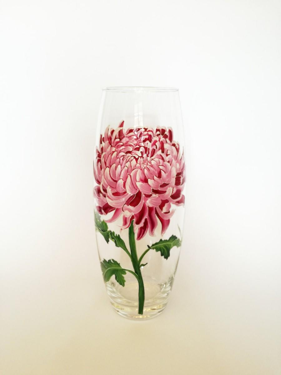 Wedding - Anniversary Gift for Women Hand Painted Glass Vase Room Decor Floral Table Centerpiece Handpainted Chrysanthemum Decorative Painted Vase