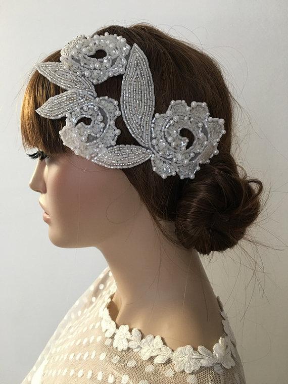 Wedding - Bridal Pearl Headband, Pearl sequin hand emroidered Wedding Headpiece, Ivory pearl Headpiece, Wedding Hair piece, Accessories