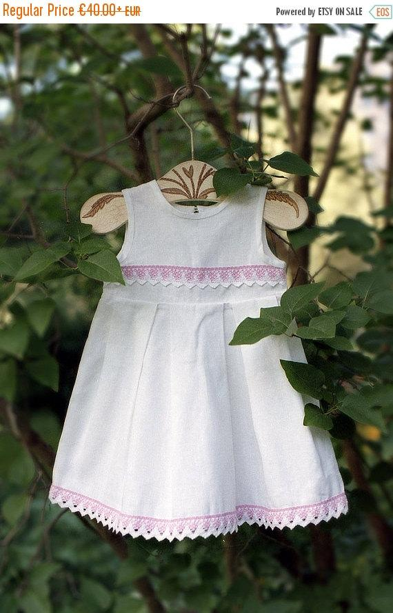 Wedding - SALE Linen girl dress - White girl dress with pink lace - Baby girl white dress - Baptism dress - Christening gown - Flower girl dress