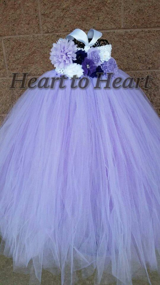 Wedding - Elegant lavendar flower girl floral dress, birthday girl tutu dress, wedding tutu, lavender tutu dress, flower girl outfit set