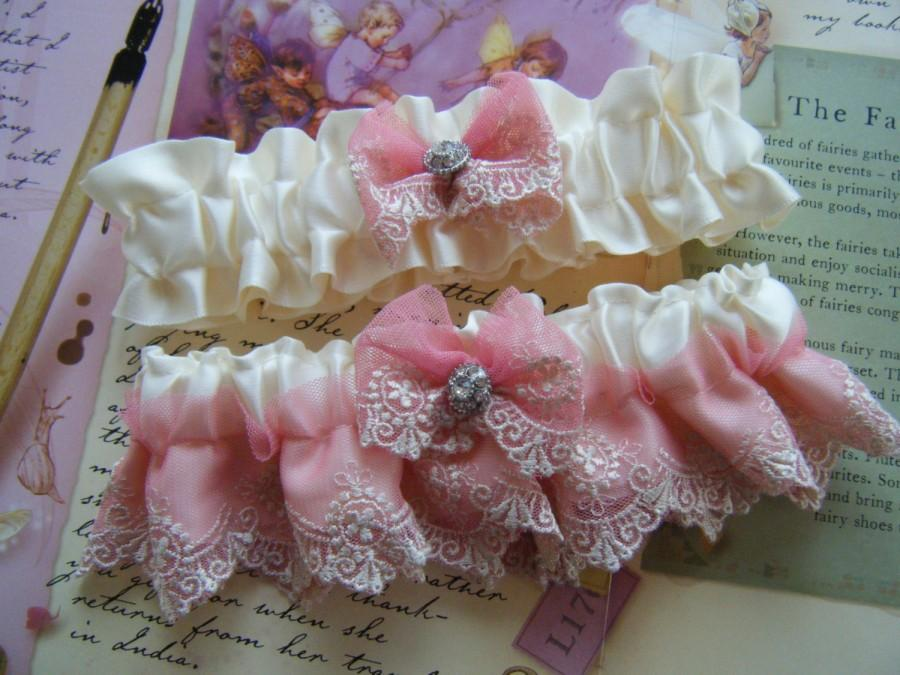 Wedding - Beautiful Soft Pink Lace on Off White Satin Garter Set