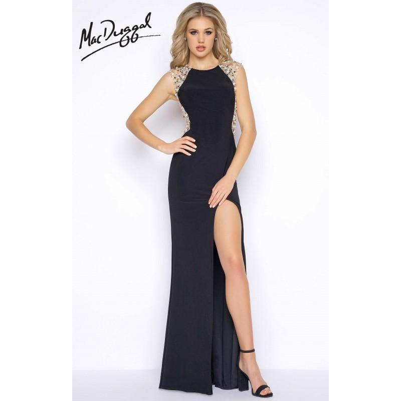 Mariage - Black Cassandra Stone 77244A - Fitted Sleeveless Long High Slit Jersey Knit Open Back Dress - Customize Your Prom Dress