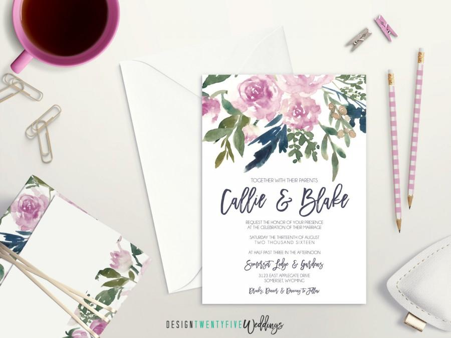Hochzeit - Purple Floral Wedding Invitation Suite // 5x7 Invitation // Choose Your Set! // The Callie Collection