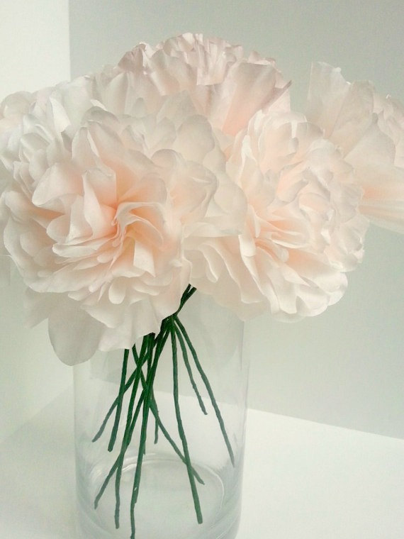 Свадьба - Individual White & Blush Pink Ombre Peony Paper Flowers-Peony,Rose-Wedding,Paper Flower Bouquet,Bridesmaid Bouquet,Bridal Shower,Centerpiece