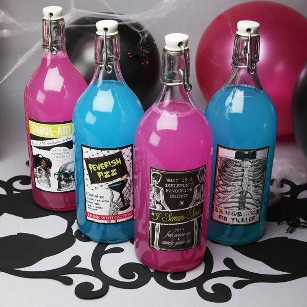 Wedding - Wine labels, Halloween party, sugar skull decor, All Hallows' Eve, gothic wedding, food jar fun,  cookie candy supplies,  bithday party