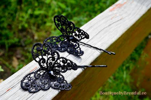 Mariage - A set of 2 Black Lace Butterfly Bobby Pins
