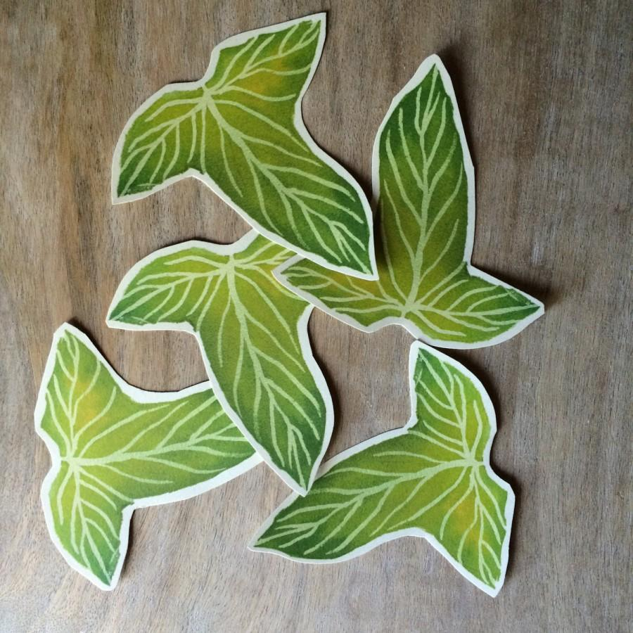 Mariage - Green Leaves - Lorien Leaves - Hand cut prints of original watercolor leaves- Wedding - Event decoration