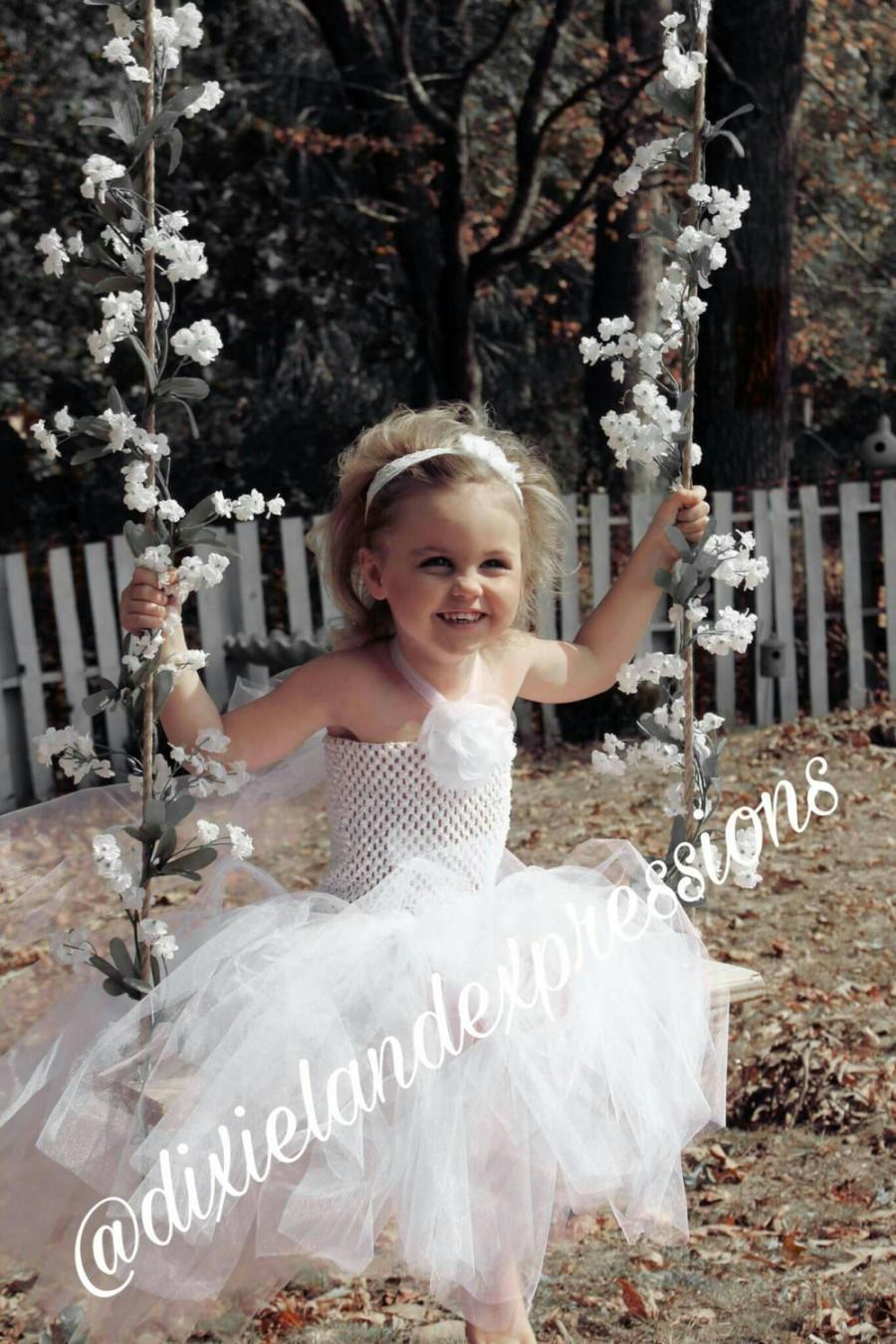 Свадьба - White tulle flower girl dress, Toddler Tutu dress tulle, Wedding Tutu tulle flower girl dress, Toddler special occasion outfit,  Party dress