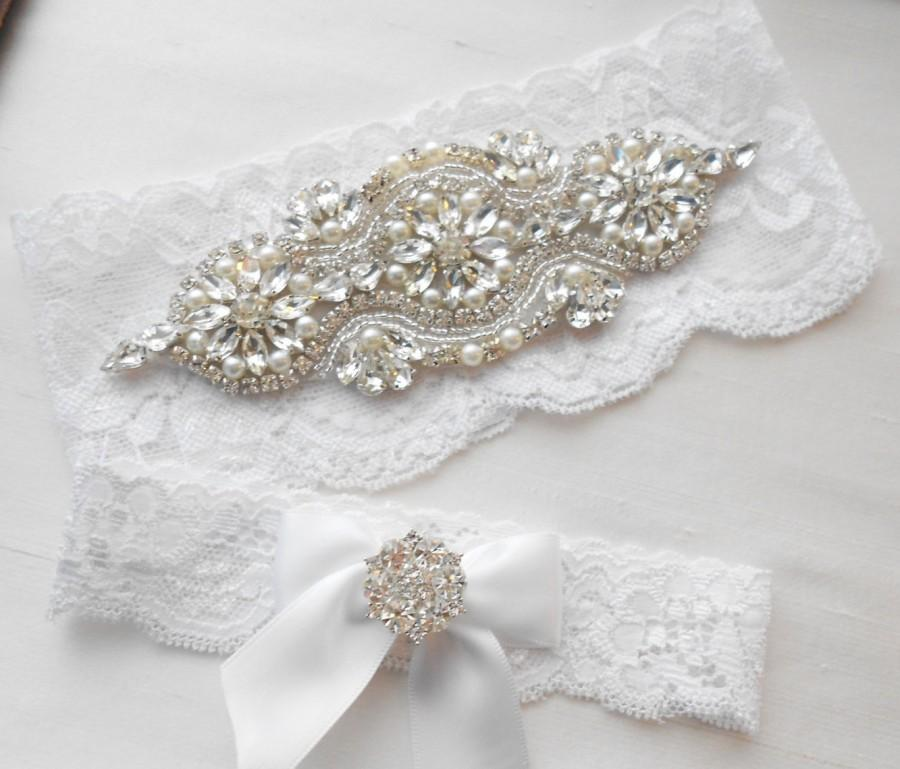 Wedding - Wedding Garter Set Ivory or White Stretch Lace Bridal Garter Set Crystals and Rhinestones and Lovely Pearls.