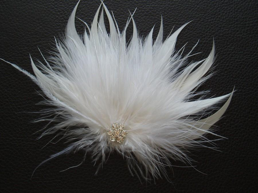 Wedding - TENDER - White Feather Bridal Hair Clip, Wedding hair piece accessory w/ Rhinestone
