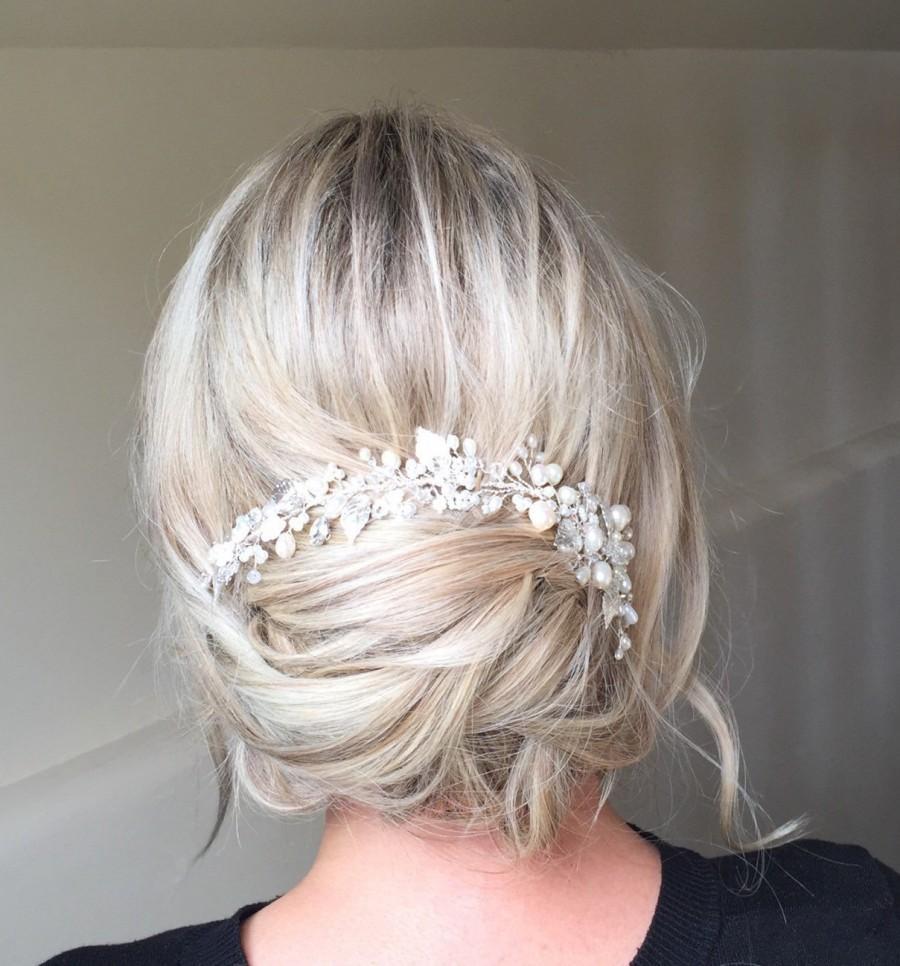 Wedding - Silver Willow Vine- Silver leaf, Crystal and pearl wedding hairvine- wedding hair accessory, bridal vine, vintage, rustic, hairpiece, tiara