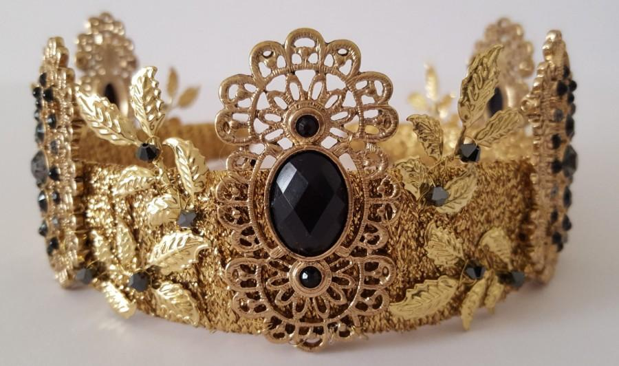 Wedding - Fleur  de Nuit       Gold Crown Tiara